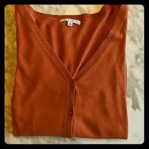 CAbi long-sleeved orange cardigan